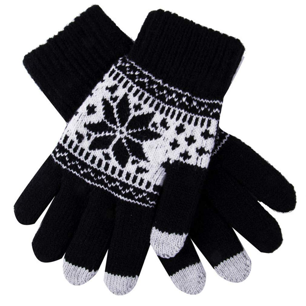 Lerdon Cute Christmas Warm Winter Gloves Snowflake Printed Knitted Touch Gloves Men Women Gloves Touch Screen Glove Party Supplies