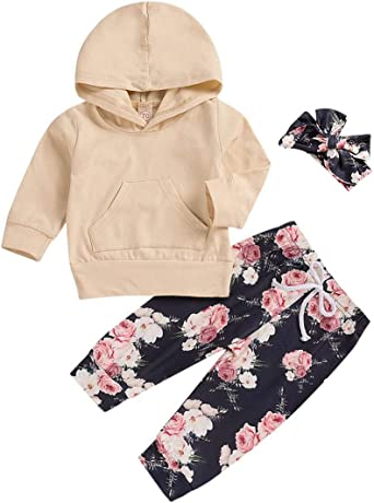 3Pcs Baby Girls Clothes Long Sleeve Hoodie Sweatshirt Cute Floral Pants with Headband Outfit Sets