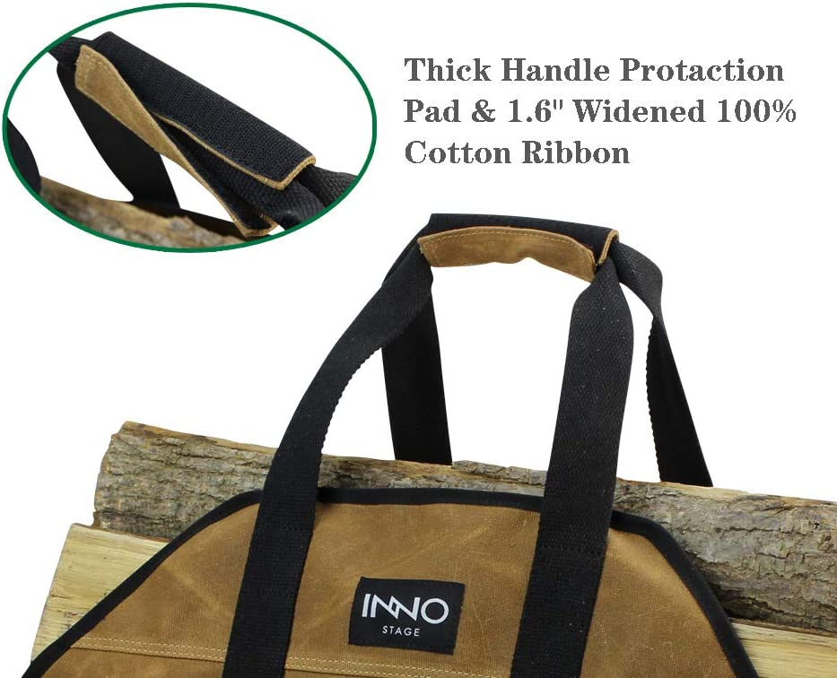 Rust INNO STAGE Heavy Duty Wax Canvas Log Carrier Tote,Large Fire Wood Bag,Durable Firewood Holder,Fireplace Wood Stove Accessories Storage Bag
