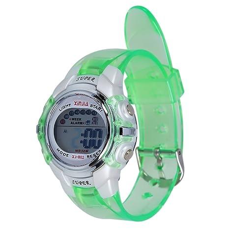 SODIAL(R) Reloj Digital Deportivo Impermeable Banda Verde para Ninos
