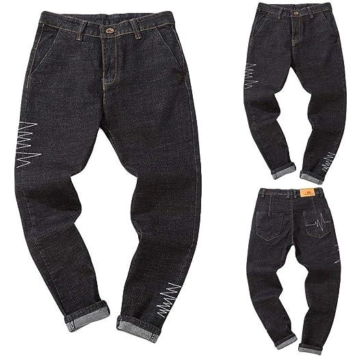 ZODOF, Jeans Negros Pantalones Vaqueros Ocasionales del otoño del Dril de algodón del algodón de los Hombres de la Colada del Vintage del Lavado del otoño ...