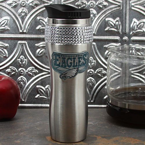 Great American Products NFL Philadelphia Eagles 16-Ounce Stainless Steel Bling Tumbler -