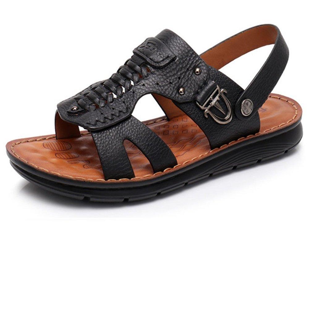Wagsiyi Hausschuhe Schwarz Sandale Männer Outdoor Leder Schwarz Hausschuhe Anti-Rutsch-Schuhe Atmungsaktiv Coole Hausschuhe Strandschuhe (Farbe : Braun, Größe : 39 1/3 EU) Schwarz 63103d