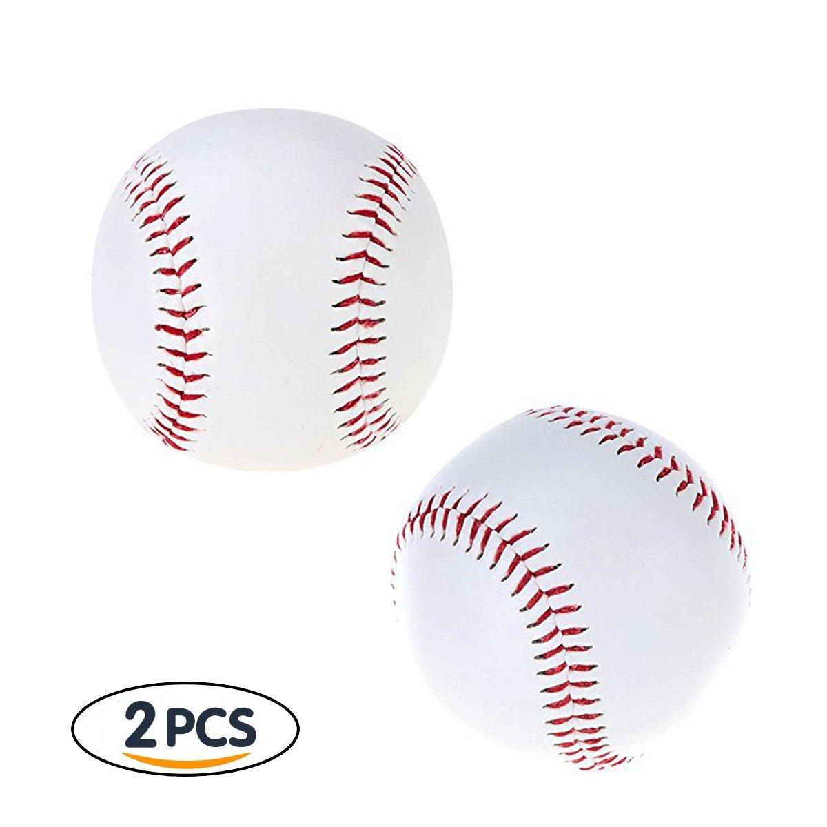 Jiele Cuir souple en cuir PU blanc Balle Baseball Core Baseball Sport de cricket Entraînement Boule 2pcs