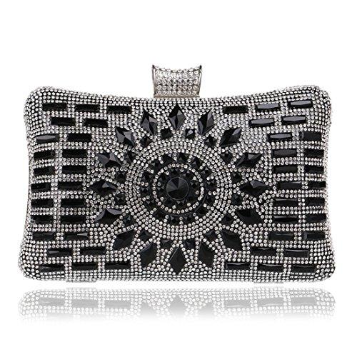 Mujer Incrustaciones Banquete Para Fubulecy De Noche Bolso Con Vestido Black Diamantes nSw80qw