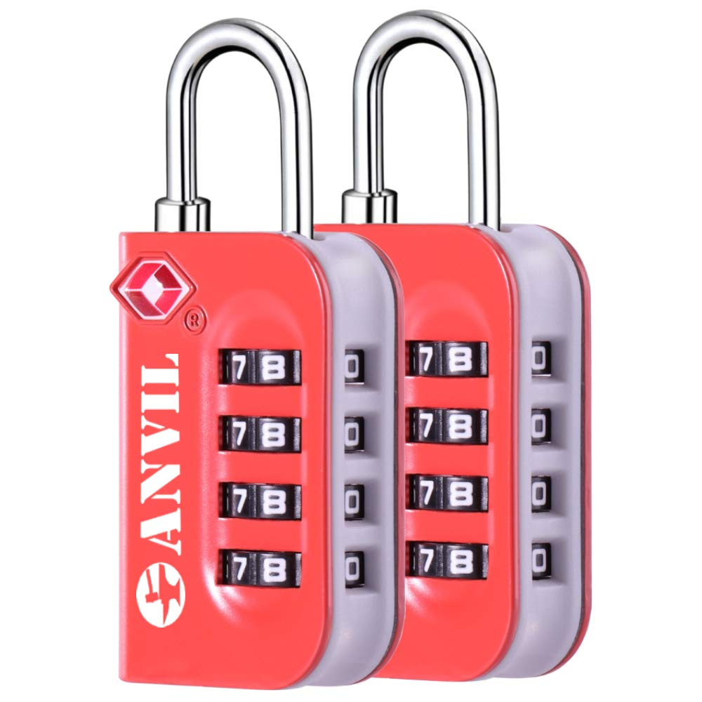 Anvil TSA Luggage Locks - 4 Digit Combination Steel Padlocks - Approved Travel Lock For Suitcases & Baggage (ORANGE 2 PACK) by Anvil (Image #5)