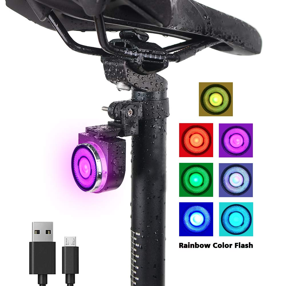 CAOSGO Rainbow Color FlashAutomatic Bicycle LED Flash Taillight, USB Rechargeable, High Brightness, WaterproofAuto, 4 Light Modes,Battery Indicator