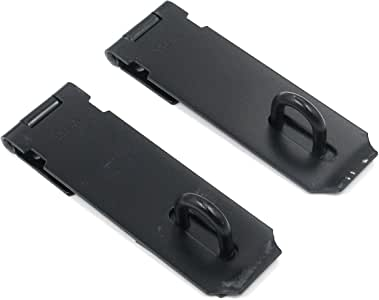 Door Hasp Latch Lock Karcy Hasp Padlock 5 inch Hasp Safety Lock 90 Degree Black 201 Stainless Steel 2 Pcs