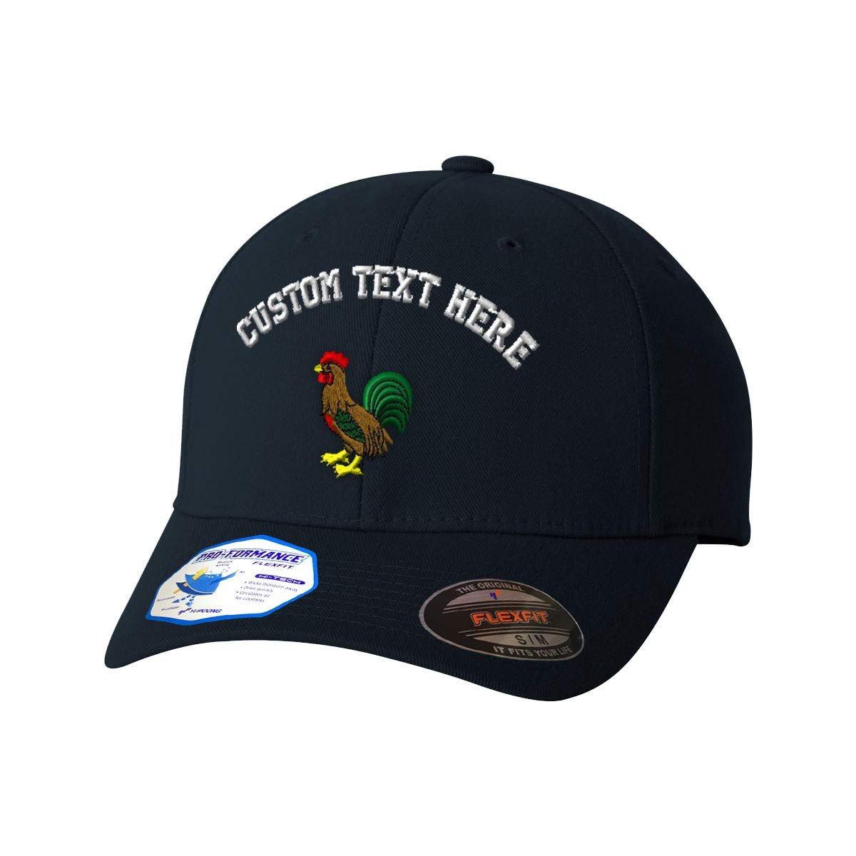 Dark Navy Custom Text Embroidered Rooster Style 1 Unisex Adult Elastic Polyester//Spandex Flexfit Pro-Formance Hat Baseball Cap