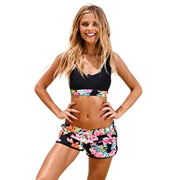 262ff511d5136 Image Unavailable. Image not available for. Color: Fheaven Womens Girls  Vest Tops Padded Swimsuit Shorts ...