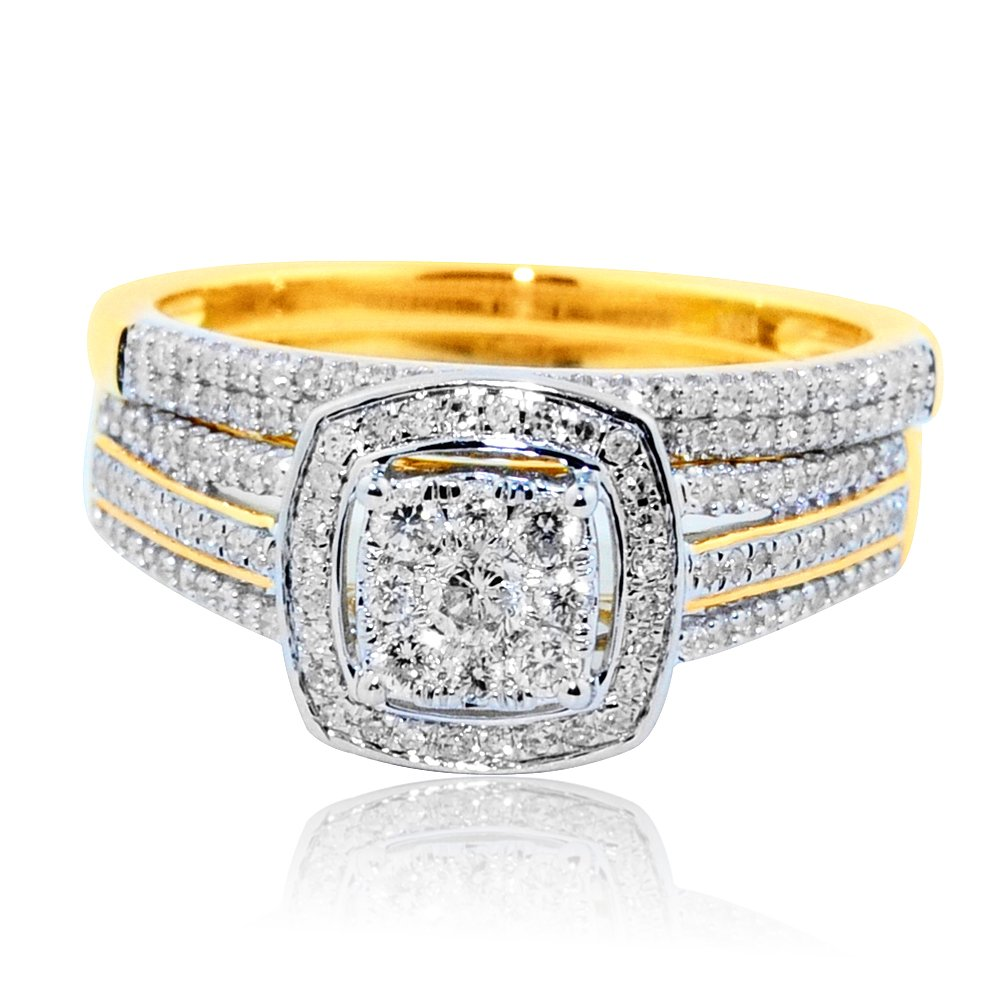 10K Yellow Gold Wedding Ring Set 1/2CTTW Diamonds Halo Style 2pc Set 9.5mm Wide