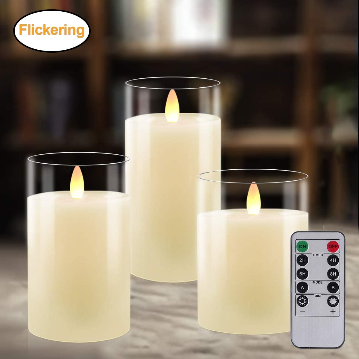 Flameless Candles Battery Operated Candles Real Wax Pillar LED Glass Candle Flickering Dancing Wick Tea Lights Votive Candles with 10-Key Remote and Cycling 24 Hours Timer 4 5 6 Set of 3 Amber