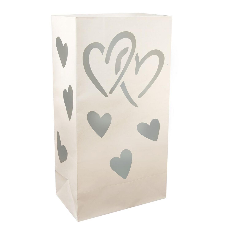 CC Home Furnishings Club Pack of 24 Silver Interlocking Hearts Design Luminaria Bags 11''