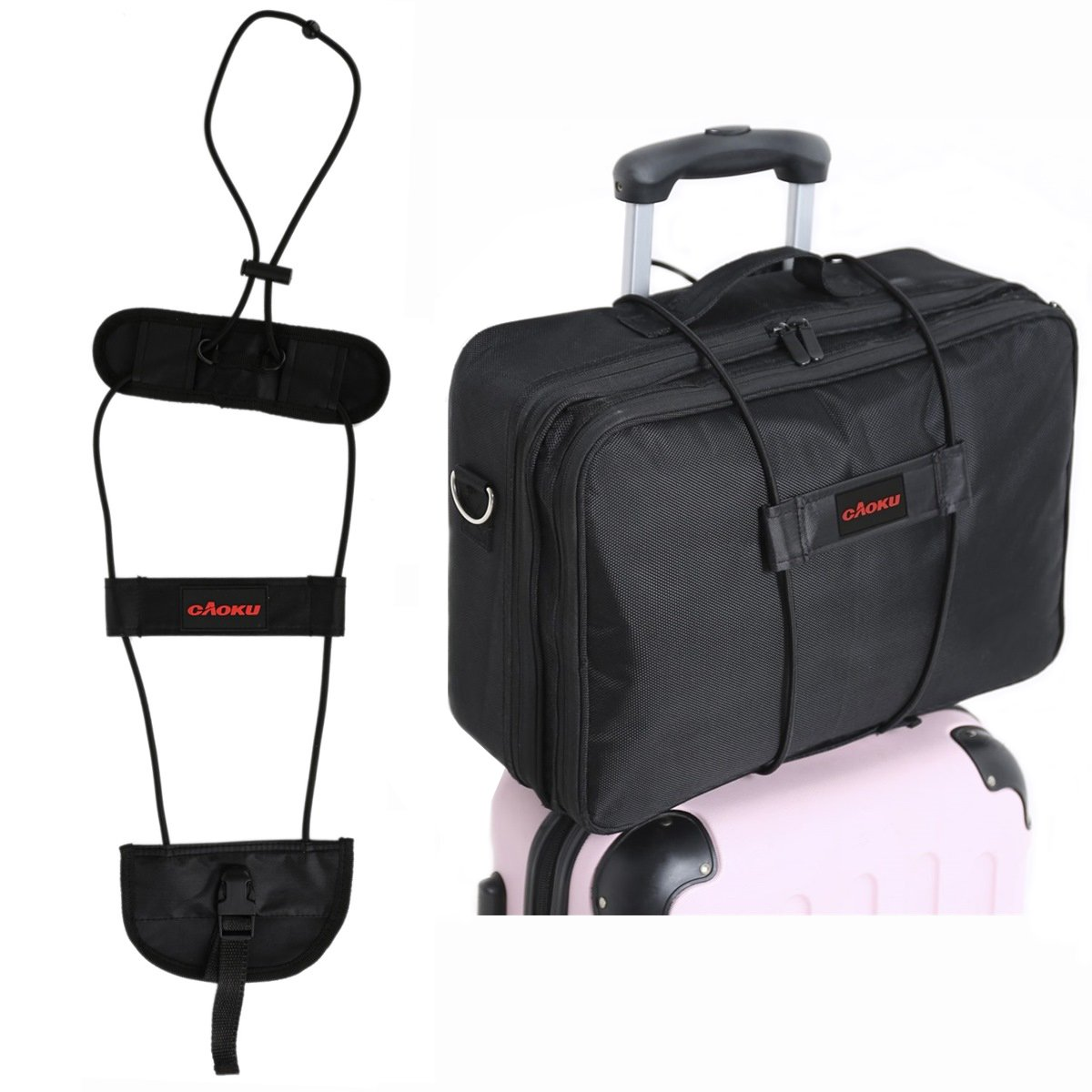 Bag Bungee Carrying On Luggage cAoku Adjustable Belt On Travel Luggage Suitcase With Elastic Strapping (2-Pack)