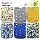 Baby Cloth Diaper, Angel Love Baby Reusable Washable All in one Size Cloth Pocket Diapers, Adjustable Snap, 6 Pcs + 6 Inserts, Gift Set, 11ZH11 (Boy Color)