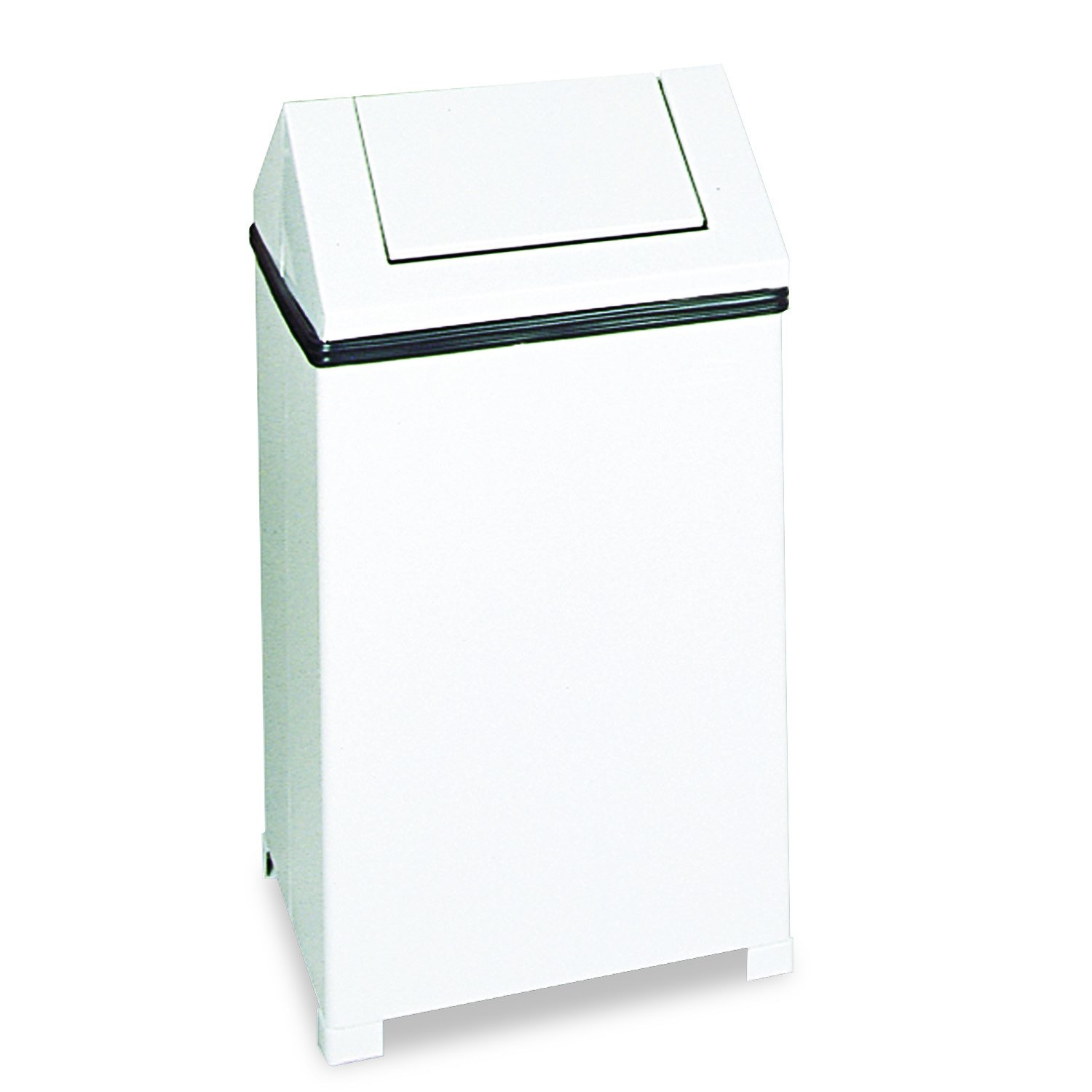 Rubbermaid Commercial T1424ERBWH Fire-Safe Swing Top Receptacle, Square, Steel, 24gal, White