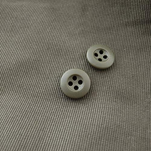 【シンプルデザイン】ミリタリーボタン #CF3 4穴 15mm C/#66 カーキ 10個セット