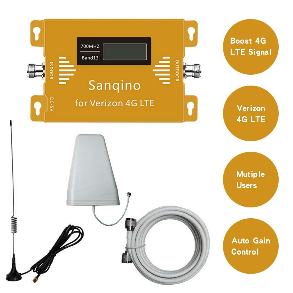 Sanqino Cell Phone Signal Booster for Verizon 4G LTE, 700MHZ Band 13 Cellular Repeater Amplifier Kit Boosts Voice & Data Signal for Home and Office