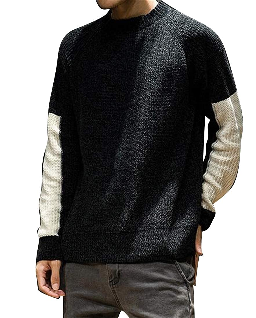 ARTFFEL Mens Plus Size Round Neck Contrast Knitting Loose Pullover Sweater