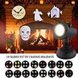 Halloween Projector Light - Waterproof Landscape Projector Lights with 16 Holiday Subject Slides, Suitable for Indoor & Outdoor - Remote Control, Timer, LED Light, Bright & 30 ft Projection Distance