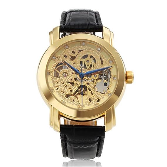 Hombre Relojes 2017 marca lujo Mens negocio reloj mecánico elegante Esqueleto Dorado Acero Caso Automático para Hombre relojes de pulsera.