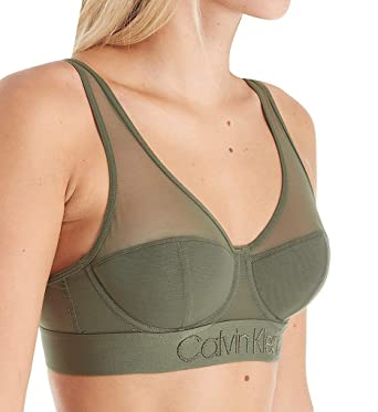 ee68abb58d0f9 Calvin Klein Women s Tonal Logo Mesh Lightly Lined Bralette at ...