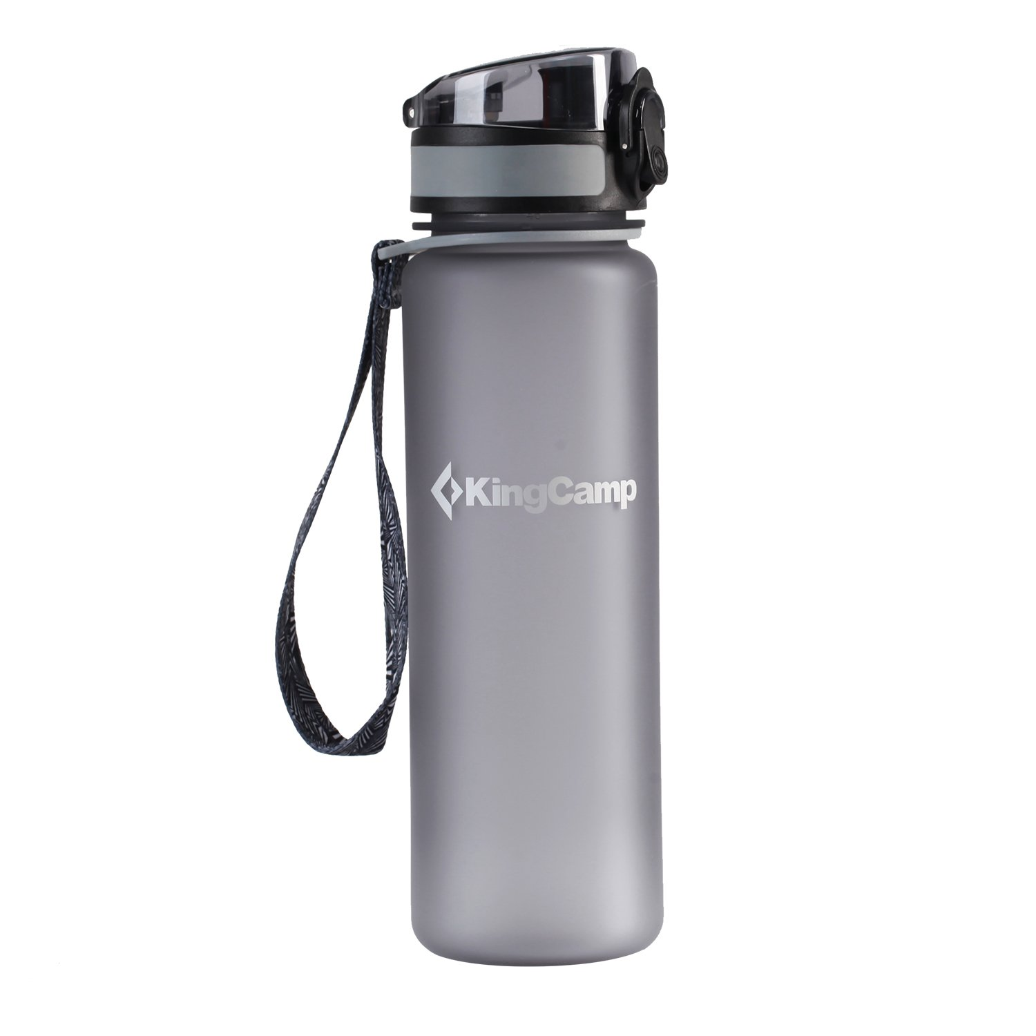 KingCamp 17.7oz / 500ml Middle Grey TRITAN Wide Mouth Sports Water Bottle with Snap Cap, BPA Free, Eco Friendly, Heat-resistant, Good for Kids