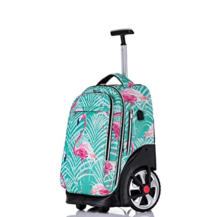 c733ad21bc7a Amazon.com: HIMFL Rolling Backpack Luggage School Travel Laptop 18 ...