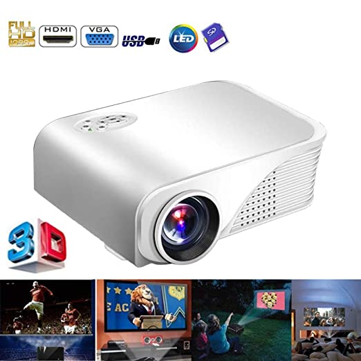 KAIDILA Proyector 1080p HD Mini proyector LED portátil hdmi/vga ...