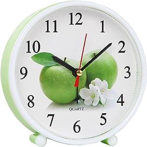 Home-X Cheery Jumbo Green Apple Standalone or Wall Mount Analog Quartz Alarm Clock