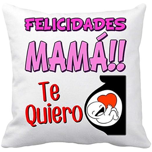 Diver Bebé Cojín con Relleno felicidades mamá te Quiero Mucho - Blanco, 35 x 35 cm