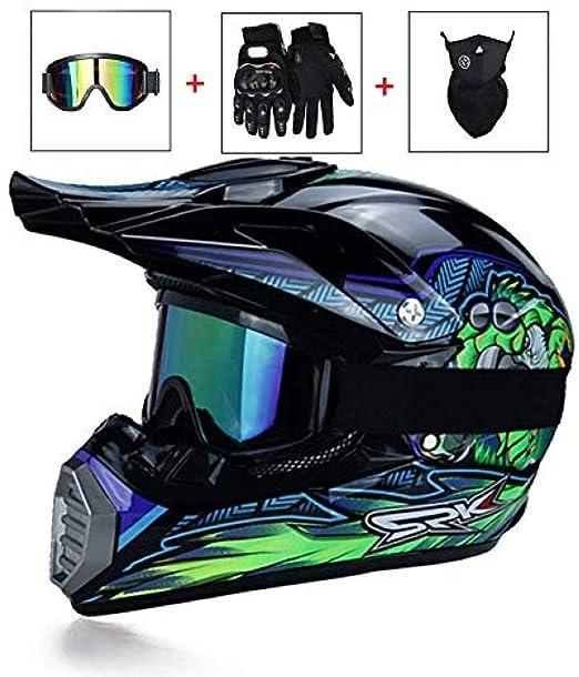 Schwarz Blau LEENY Motocross-Helm Motorradhelm Herren Damen Fullface Schutz-Helm ATV MTB Quad Motorr/äder Racing Enduro Downhill-Helm Motorrad Off-Road Crosshelm Set mit Brillen Maske Handschuhe