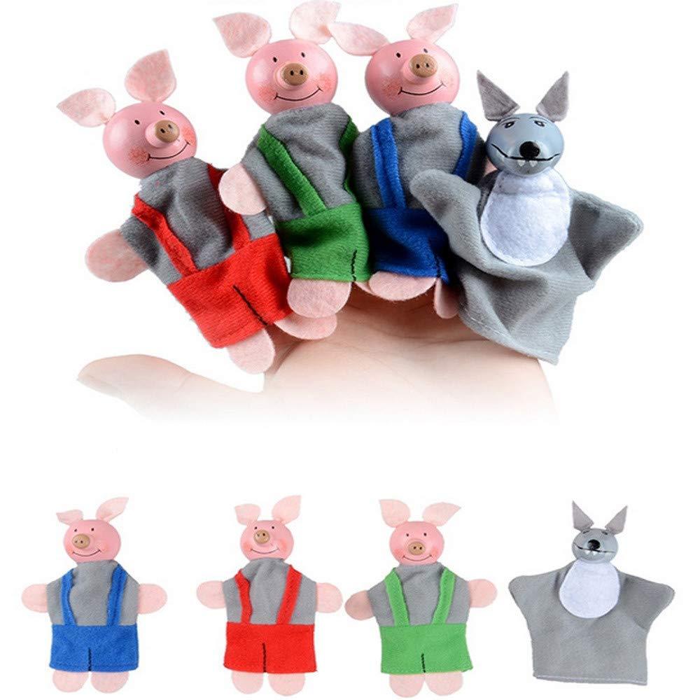 US Fast Shipment  4Pcs Finger Puppets|Three Little Pigs and Wolf Finger Puppets Hand Puppets|for Baby Kid s Christmas Gifts (Random)