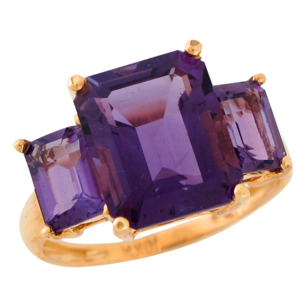 10k Yellow Gold Natural Amethyst Opulent Wide Band Ladies Ring