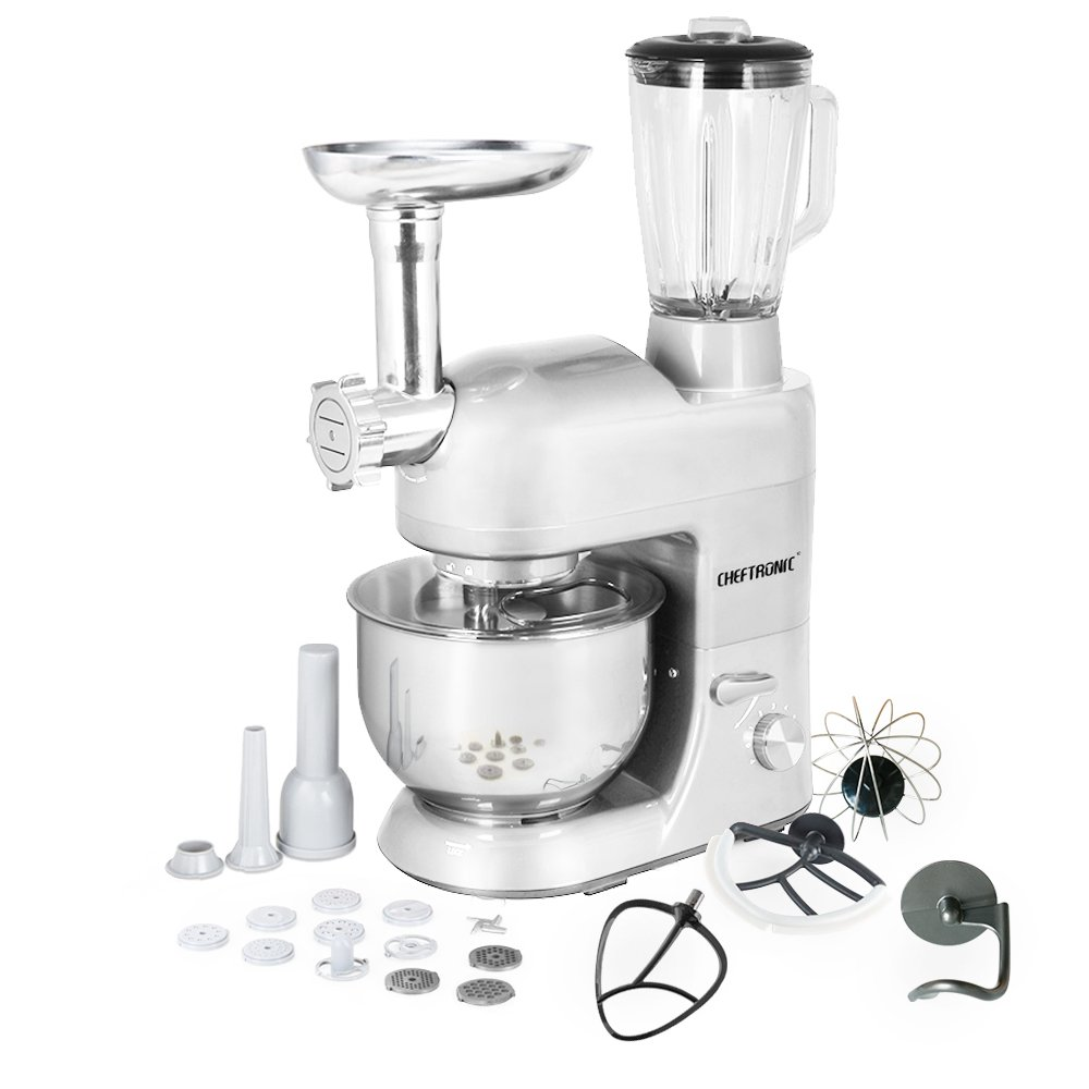 CHEFTRONIC 3 In 1 Upgraded Stand Mixer, 650W Kitchen Mixer SM-1086 with 5.3QT Bowl, Grinder, Blender, Pasta Dies, Sausage Maker for Mother's Day, Xmas, Wedding, Thanksgiving, Birthday Gift (Silver)