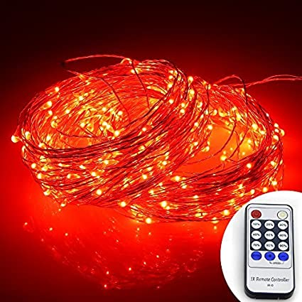 12V DC Power Adapter ER CHEN 33ft Led String Lights,100 Led Starry Lights on 10M Silver Coating Copper Wire String Lights Remote Control Blue