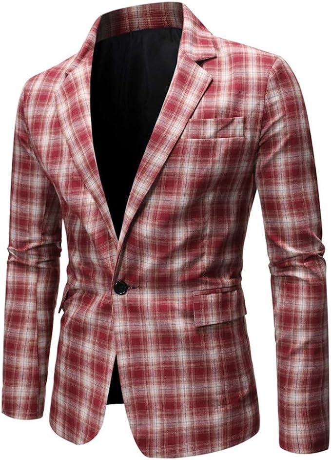 Day8 Blazer Uomo Slim Fit Suit Bavero Giacche Young Fashion Abbigliamento Ufficio Cappotto Vestito Di Semplice Casual Affari Moda One Bottone Uomini Blazer A Quadri Rosso M Amazon It Abbigliamento