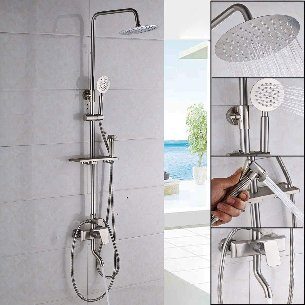 Shower Head Handheld Shower Oil Rubbing Bronze Waterfall Shower Head Hand-Held Bathroom Accessories Easy To Install Classic Durable Adjustable 55 23Cm Suitable For All Bathrooms