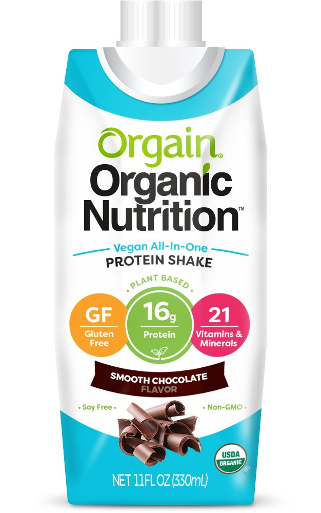 Orgain Plant Based Organic Vegan Nutrition Shake, Smooth Chocolate, Non-GMO, Gluten Free, Dairy Free, 11 Ounce, 12 Count, Packaging May Vary