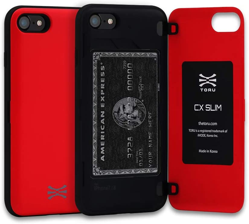 TORU CX Slim Compatible with iPhone SE 2020/iPhone 8/iPhone 7 Wallet Case - Protective TPU Bumper and Hard Cover Dual Layer with Hidden ID Slot Credit Card Holder - Red