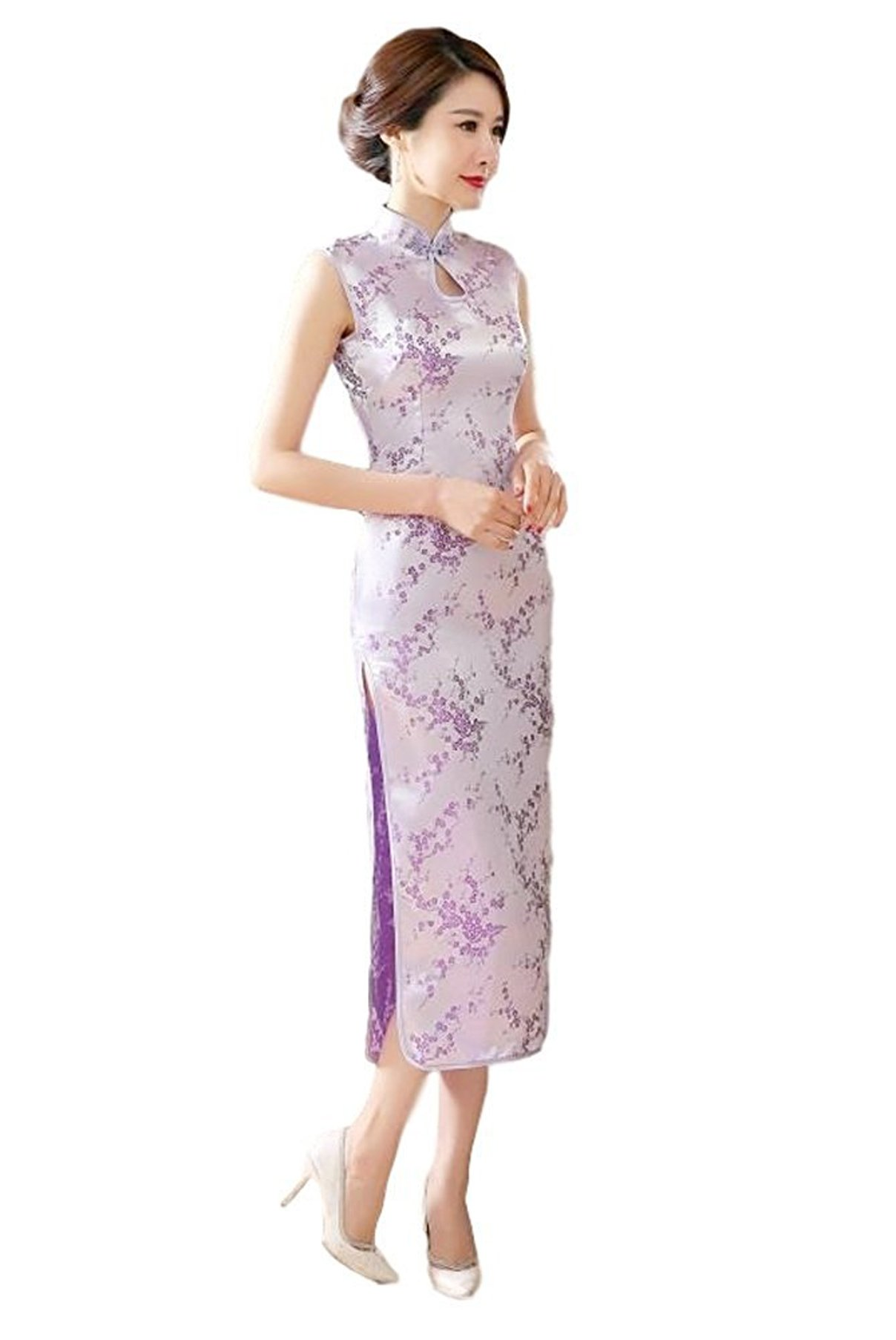 Maritchi Women's Long Chinese Wedding Dress Cheongsam Qipao Retro Long Flower Printing (8(ChineseXL), Purple)
