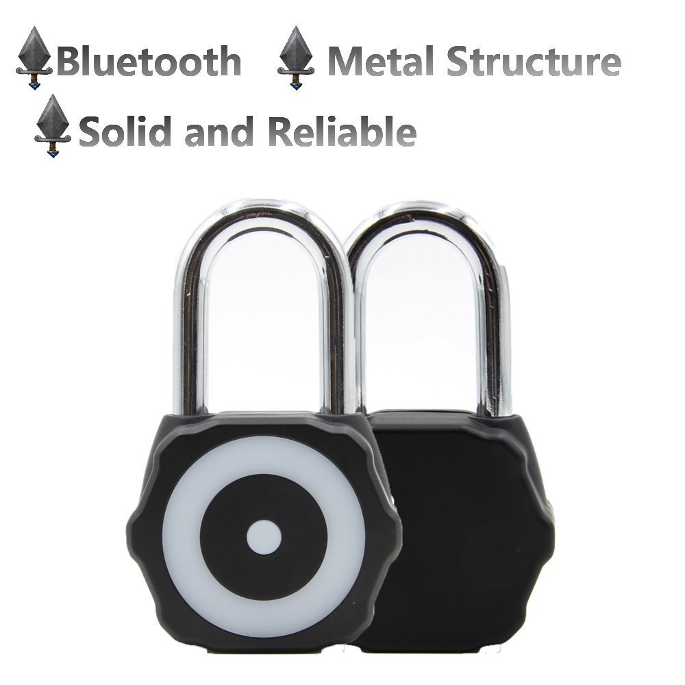 Kolmon | Keyless Bluetooth Smart Padlock | iOS & Android Compatible | Heavy Duty & Durable | Use Indoor or Outdoor | Great for Lockers, Sheds, Bike Chains | Black
