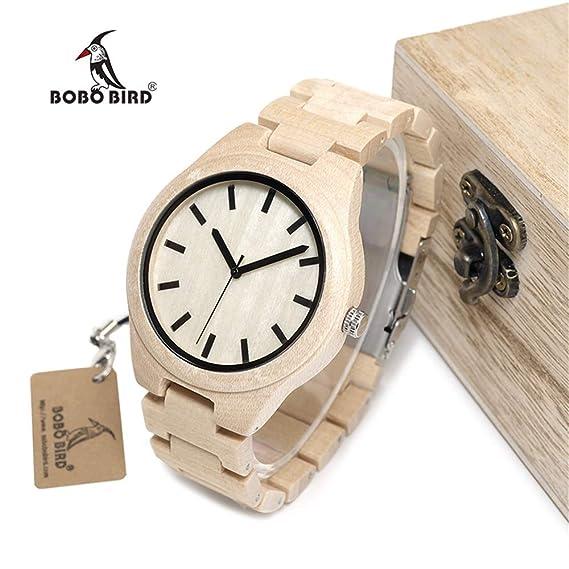 HWCOO Hermosos Relojes De Madera Reloj de Madera del Reloj 2017 de los Hombres del pájaro del Bobo del Reloj de Madera (Color : 1): Amazon.es: Relojes