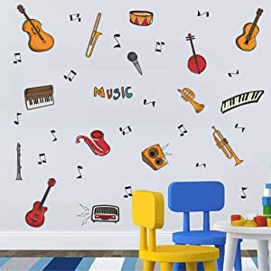 Colorful Music Wall Decal (34pcs), Attractive Musical Instrument with Guitar Piano Musical Note Sticker for Classroom Music Studio Decoration