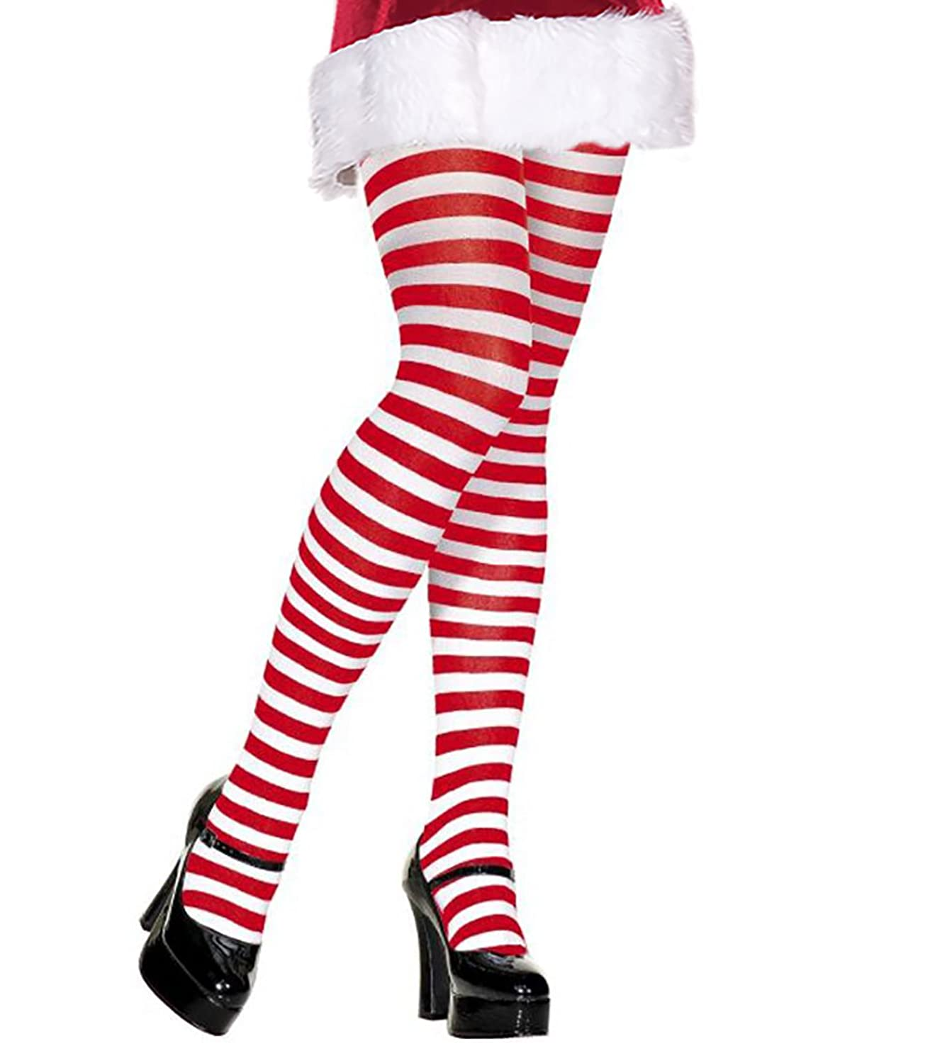 b48322309c4fe One pair of red and white striped tights pantyhose for women. - Add a pair  of Elf shoes or Christmas Shoes to complete your Elf or Mrs. Clause Costume  Look.
