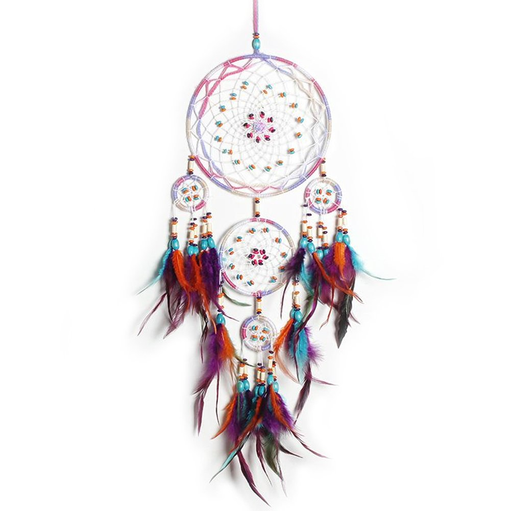 MeiHoyo Dream Catchers Handmade Colorful Feather Dreamcaters with Flowers for Wall Hanging Decoration, Wedding Decoration Craft (Dia 7.9'' Length 27.6'')