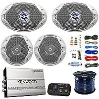 Marine Speaker And Amp Combo: 2x JBL MS9520 6x9 2-Way Coaxial Marine Speakers + 2x JBL MS6510 6.5 Boat Speakers + Kenwood Bluetooth 4-Chan. Amplifier W/ Install Kit + Enrock 50Ft 16g Speaker Wire