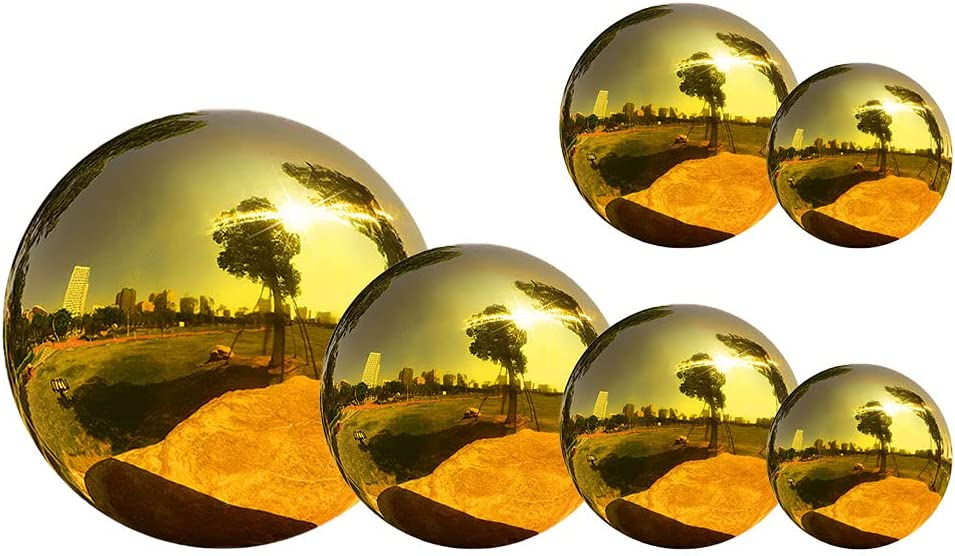 Outdoor Mirrors for Gardens,Gazing Ball Garden Sphere Ball Mirror Polished Hollow Ball Stainless Steel for Home Garden Ornament Decorations 6pcs