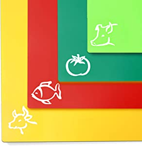 Flexible Plastic Kitchen Cutting Board Mats Set, Dishwasher Safe, Food Icons , Textured Grip Bottom Prevents Slipping, Non-Porous Colorful, Translucent Colors (Set of 4) by Orrdice