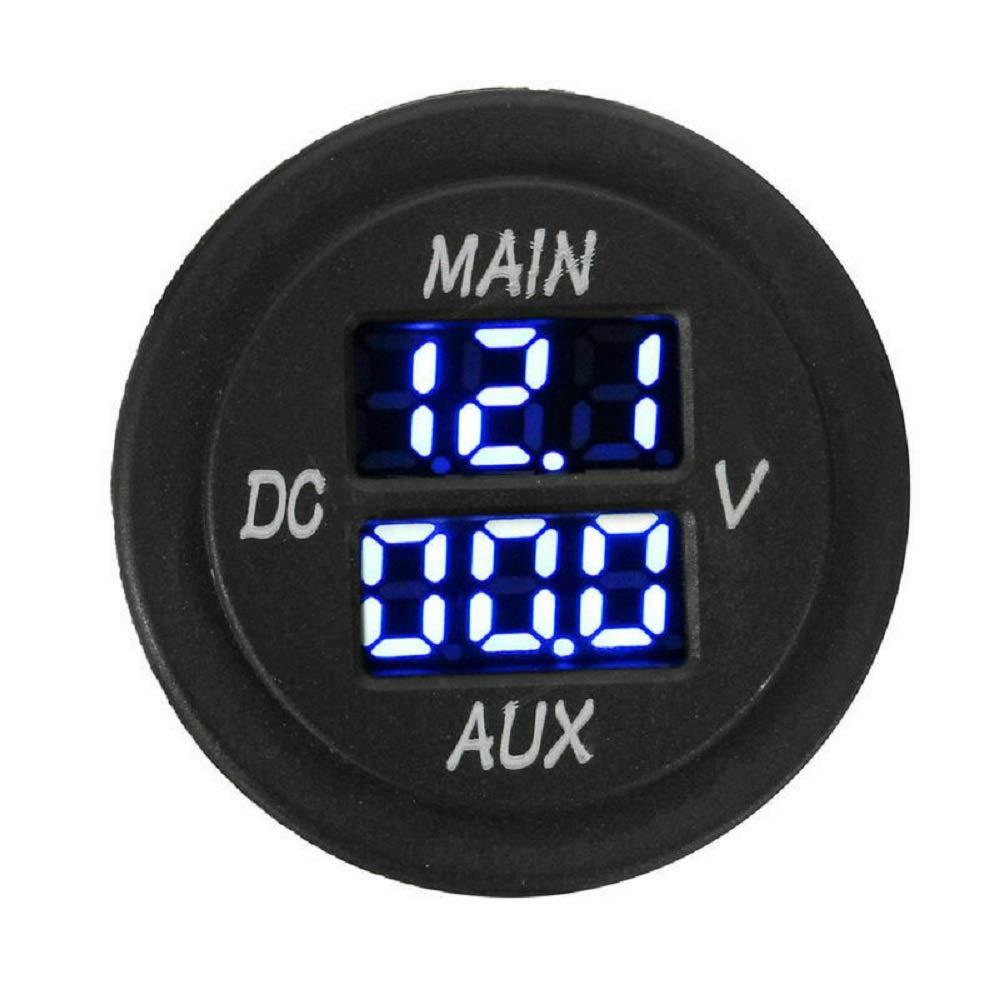 MASO Car Motorcycle DC 12-24V Dual LED Digital Round Panel Voltmeter Ammeter Amp Volt Meter Guage(Blue) by Maso